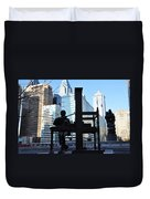 The Ben Franklin Printing Press Statue Duvet Cover