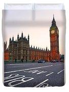 The Big Ben Bus Lane - London Duvet Cover
