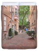 The Blue Door - Gaslight Court Chicago Old Town Duvet Cover by Christine Till