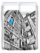 The Blue Window In Venice - Italy Duvet Cover