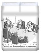The Boss At An Executive Meeting Points Out An Duvet Cover by Zachary Kanin
