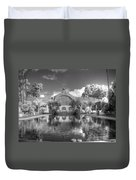 The Botanical Building In Black And White Duvet Cover