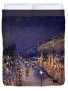 The Boulevard Montmartre At Night Duvet Cover