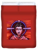 The Buddha In Red And Gold Duvet Cover