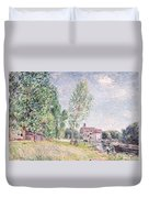 The Builder's Yard At Matrat Moret-sur-loing Duvet Cover by Alfred Sisley