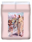 The Call Of Andrew And Peter Duvet Cover by Harold Copping
