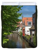 The Canal In The Downtown Of Bruges  Duvet Cover