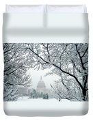 The Capitol In Snow Duvet Cover
