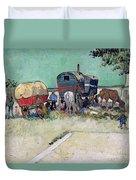 The Caravans   Gypsy Encampment Near Arles Duvet Cover by Vincent Van Gogh