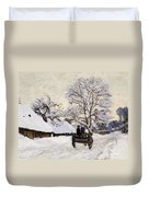 The Carriage- The Road To Honfleur Under Snow Duvet Cover