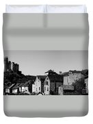 The Castle Above The Village Panorama In Black Nd White Duvet Cover
