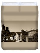 The Castle Above The Village Panorama In Sepia Duvet Cover