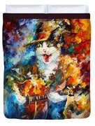 The Cat And The Guitar Duvet Cover