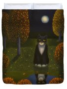 The Cat And The Moon Duvet Cover