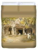 The Cave Of Elephanta, From India Duvet Cover