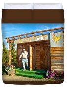 The Chicken Poop In Chicken-alaska Duvet Cover