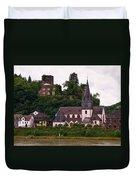 The Church And Heimburg In Niederheimsbach Am Rhein Duvet Cover