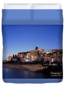 The Church Of St Mary's And Whitby Abbey North Yorkshire England Duvet Cover