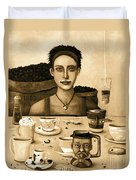 The Coffee Addict In Sepia Duvet Cover