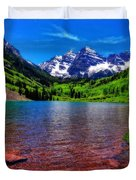 The Colors Of Maroon Bells In Summer Duvet Cover