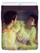 The Conversation Duvet Cover by Mary Stevenson Cassatt