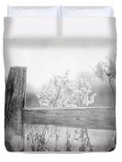 The Country Fence In Black And White Duvet Cover