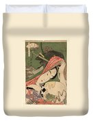 The Courtesan Tsukasa From The Ogiya House Tanabata. Star Festival  Duvet Cover