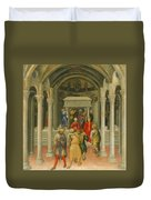The Crippled And Sick Cured At The Tomb Of Saint Nicholas Duvet Cover by Gentile da Fabriano