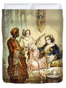 The Cup Of Coffee Two Women Taking Duvet Cover by Amadeo Preziosi