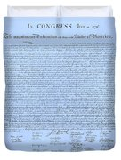 The Declaration Of Independence In Cyan Duvet Cover