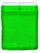 The Declaration Of Independence In Green Duvet Cover