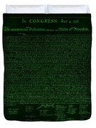 The Declaration Of Independence In Negative Green Duvet Cover by Rob Hans