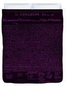 The Declaration Of Independence In Negative Purple Duvet Cover
