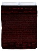 The Declaration Of Independence In Negative Red Duvet Cover