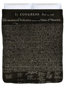 The Declaration Of Independence In Negative Sepia Duvet Cover by Rob Hans