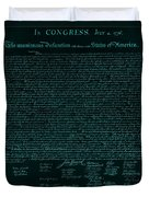 The Declaration Of Independence In Turquoise Duvet Cover