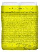 The Declaration Of Independence In Yellow Duvet Cover