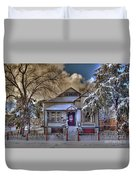 The Decorated Little House In The Snow Duvet Cover