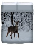 The Deer In The Snow Duvet Cover