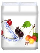 The Deers Among Cherries And Blue-and-white China Miniature Art Duvet Cover