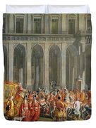 The Departure Of Alois Thomas Von Harrach, Viceroy Of Naples 1669-1742 From The Palazzo Reale Di Duvet Cover