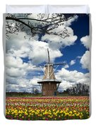 The Dezwaan Dutch Windmill Among The Tulips On Windmill Island In Holland Michigan Duvet Cover