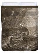 The Dioscuri Protect A Ship, 1731 Duvet Cover by Bernard Picart