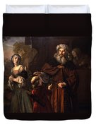 The Dismissal Of Hagar, 1650 Duvet Cover by Jan Victors