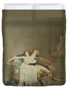 The Dispute Of The Rose, Engraving Duvet Cover