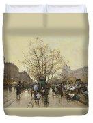 The Docks Of Paris Les Quais A Paris Duvet Cover by Eugene Galien-Laloue