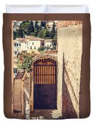 The Door With Overview Of Ronda Duvet Cover