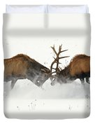 The Duel Of Fighting Elk Duvet Cover