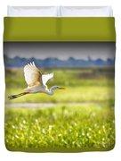 The Egret In Flight Series V3 Duvet Cover