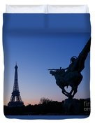 The Eiffel Tower And Joan Of Arc Statue  At Sunrise Duvet Cover